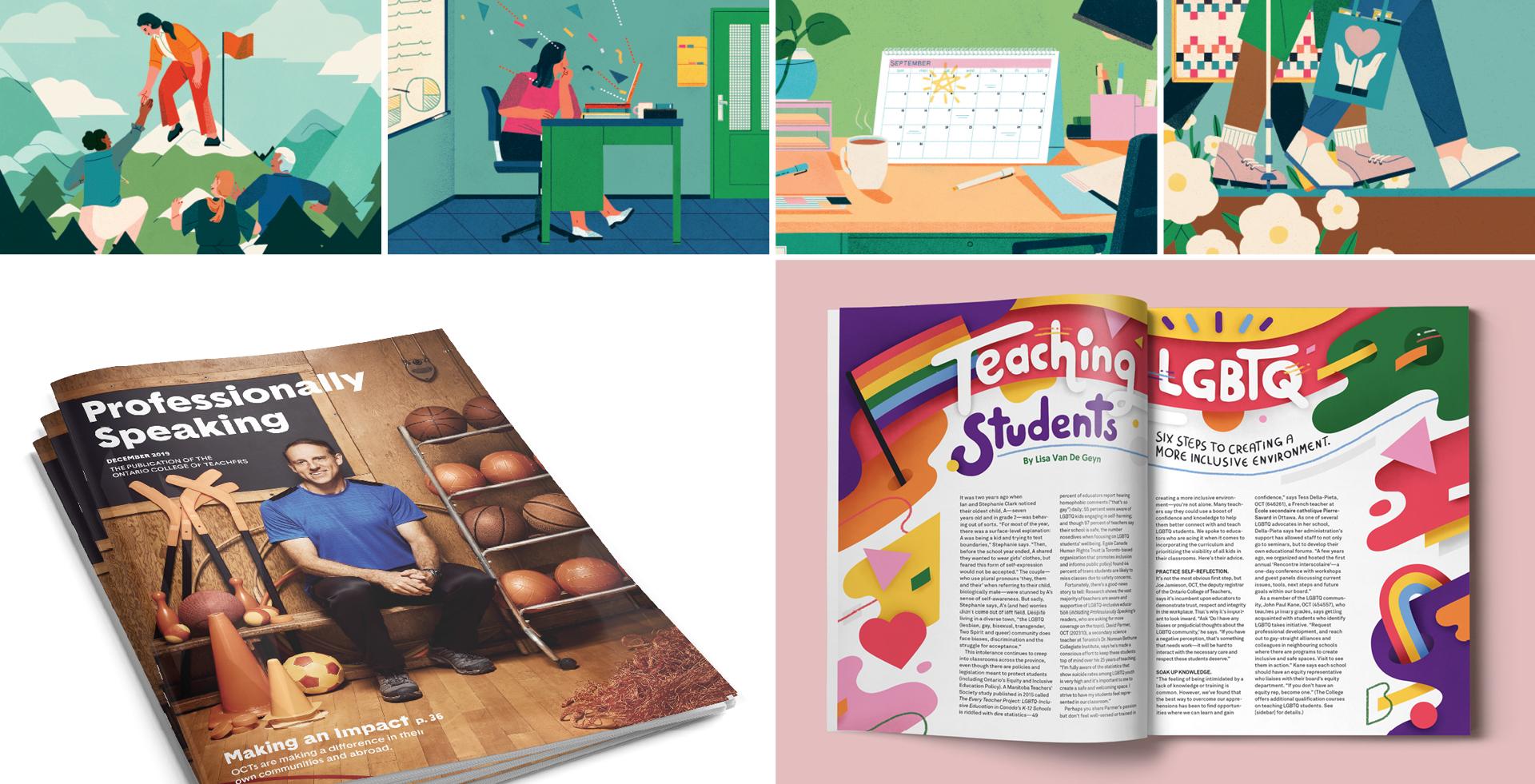 OCT Professionally Speaking magazine rebranded design layouts